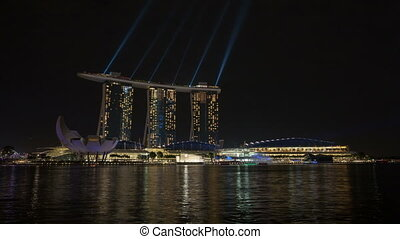 Laser Light show in Singapore 1080p - SINGAPORE, SINGAPORE -...