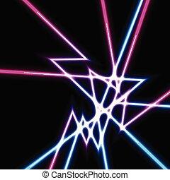 laser, lignes, résumé, néon, fond, brillant