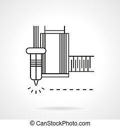 Laser machine flat line vector icon