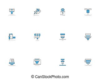 Laser machines outline vector icons set - Laser machine...