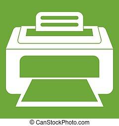laser, moderno, verde, impresora, icono