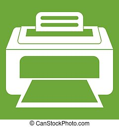laser, modernos, verde, impressora, ícone