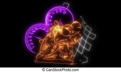 laser, moto, silhouette., animation, course motocyclette, cavalier, route
