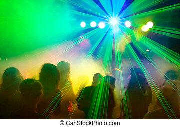 laser, multitud, bailando, disco, beam., debajo