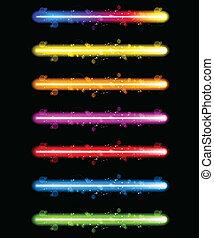 laser, neón, colorido, luces