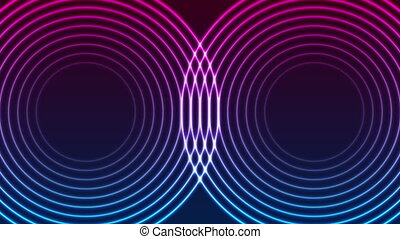 Laser neon circle rings abstract video animation