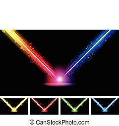 laser, neon, colorito, luci