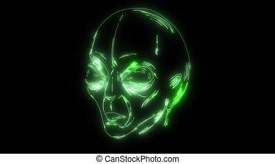 laser, neon, twarz, cudzoziemiec, ożywienie, video