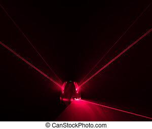 laser, niveau, balken, werktuig, licht, rood