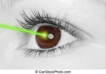 laser, oeil, faisceau