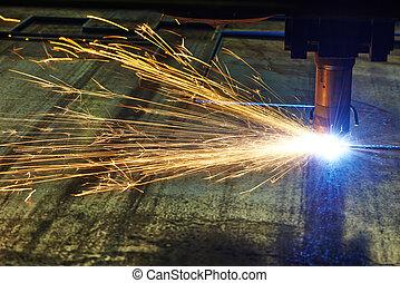 laser, ou, plasma, corte, de, metal, folha, com, faíscas
