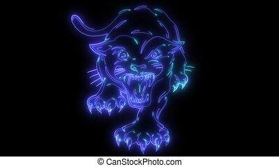 laser, panther., acroupissement, animation, vidéo, noir