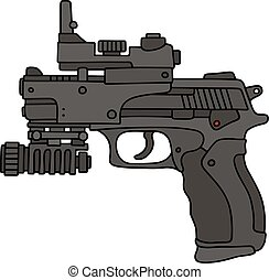 Laser, pistolet ręczny, widok