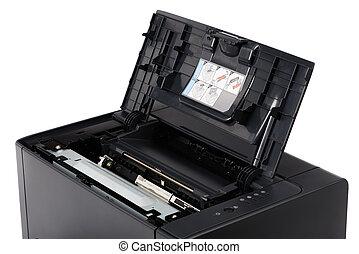 laser printer, met, geopend, voorst dekken