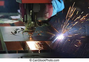laser, processo, luz, cena abstrata, máquina, sparking, cortador, soldadura