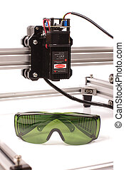 Laser protection glasses and high power laser close up