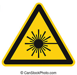 Laser radiation hazard safety danger warning text sign sticker label, high power beam icon signage, isolated black triangle over yellow, large macro closeup