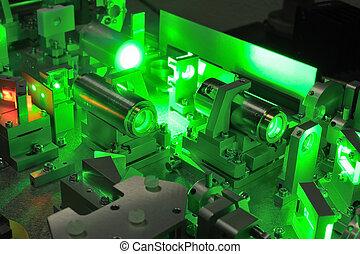 laser science - bright green laser light going inside...