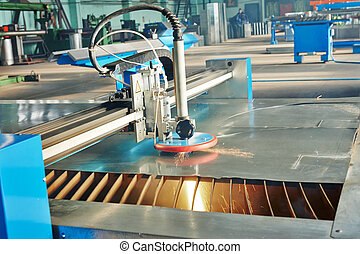 laser, scintille, metallo, taglio, foglio, plasma, o