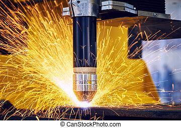 laser, scintille, metallurgia, taglio, plasma, o