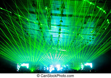 Laser show at the concert, green rays