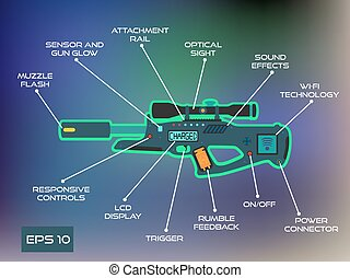 Laser tag game, laser gun infographics in trendy flat vector style.