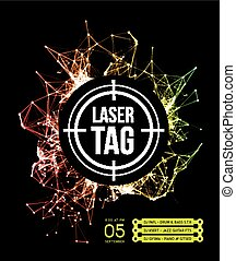 Laser tag with target.on a background of multi-colored laser...
