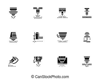 Laser technology black glyph style vector icons - Elements...