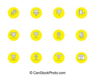 Laser technology round yellow vector icons set - Flat...