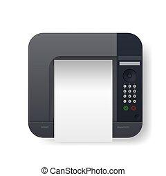 laser, topo, realístico, pretas, a4, printer., vista