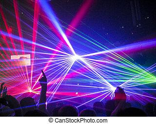 laser, visa, hos, a, nattklubb, musik, händelse