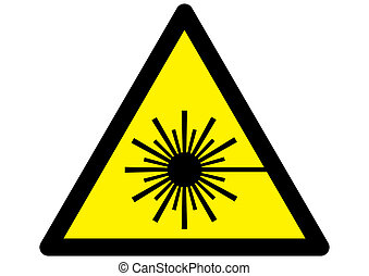 Symbol for Laser warning sign on yellow triangle.