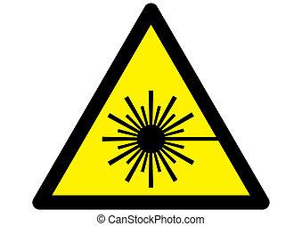 Laser Warning Sign - Symbol for Laser warning sign on yellow...