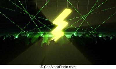 laser, zielony, ludzie, sylwetka, światła, klub, partying