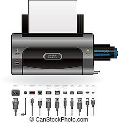 LaserJet Printer, Ports & Cables - Medium Home Color Photo...