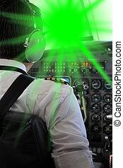 laserpointer, aveuglé, pilote