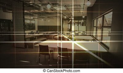 Lasers lines with empty classroom