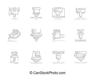 Lasers vintage vector icons set - Abstract symbols of lasers...