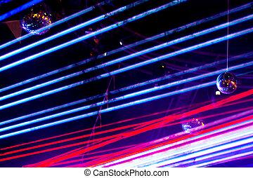 lasershow, licht, abstrakt, disko, hintergrund., schwarz