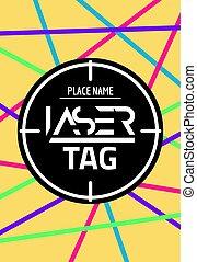 lasertag, laser, blanco, cartel, flyer., neón, puntería,...