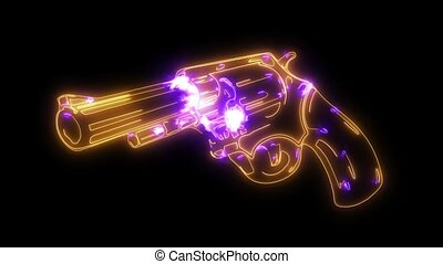laservuurwapen, animatie, video, pistool, pictogram