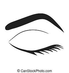 lashes olho, ilustração, vetorial, silueta, sobrancelha, estoque