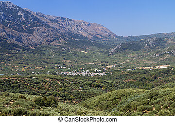Lasithi plateau at Crete in Greece