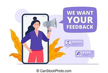 lassen, illustration., app, vektor, lautsprecher, kunden, fragt, verbraucher, m�dchen, review., bewerten, rückkopplung, service., wohnung, poppig, produkt, kunde