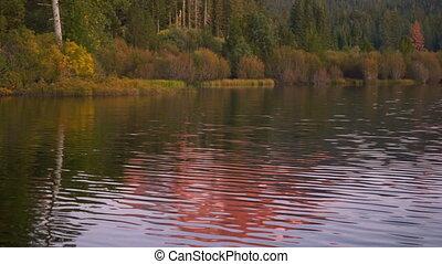 Lassen Peak Manzanita Lake Sunset California National Park...