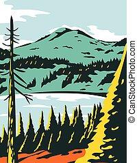 Lassen Volcanic National Park in California WPA Poster Art