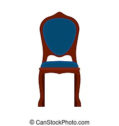 ?lassic chair front view comfortable elegance brown stylish furniture vector icon. Vintage luxury seat interior room