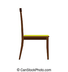?lassic chair side view comfortable elegance brown stylish furniture vector icon. Vintage luxury seat interior room