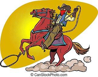 lasso, cheval, cow-boy