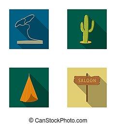 lasso, kaktus, wigwam, salon, index., wilder westen, satz, sammlung, heiligenbilder, in, wohnung, stil, raster, bitmap, symbol, haben abbildung lager, web.